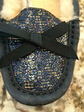 UGG AUSTRALIA SHEEPSKIN RYLEE WOMEN'S SLIPPER SIZE 5 Navy Blue LEOPARD $120 NEW