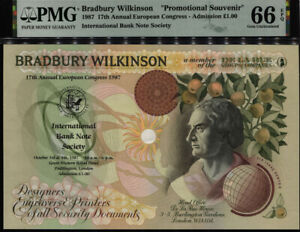 TT 1987 BRADBURY WILKINSON 1 POUND PROMOTIONAL SOUVENIR PMG 66 EPQ GEM UNC!