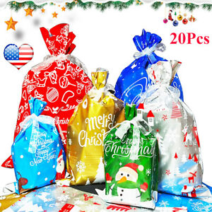 20PCS Christmas Drawstring Bags Treats Bags Gift Wrapping Bags Assorted Sizes US