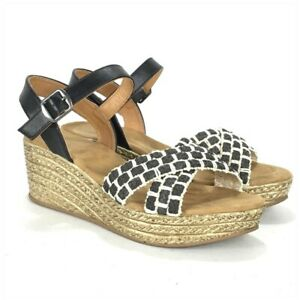Jute Platform Wedge Sandal Black Natural Women Size 8.5 Ankle Strap