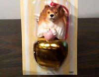 3 Pc Set SHELTIE Terrier Dog Figurine Brass Bells DNC Arcadia 3 Pc Lot Ornaments