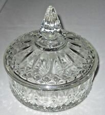 VINTAGE CLEAR GLASS DIAMOND CUT PATTERN CANDY DISH WITH LID 6'' DIAMETER INDIANA