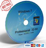 Windows 7 Professional 32 Bit Boot Disc, Reinstall Disc, Repair Disc (CD/DVD)