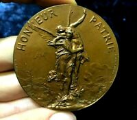 1891 Lyon French Art Nouveau Olympic shooting bronze medal by NAUDÉ 60mm /Nude