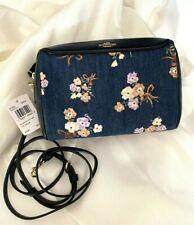 Coach 91450 Bennett Painted Floral Print Crossbody Bag Denim Multi