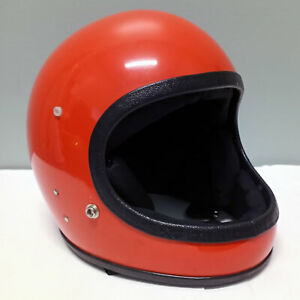 Vintage Safetech Racer Full Face Motorcycle Helmet Orange Youth LG/XL from 1970s