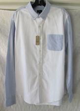 J.Crew Slim Fit Oxford Dress Shirt-White & Blue Chambray- Men's XL -NWT $64.50
