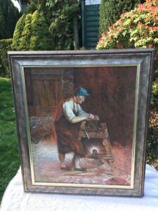 Handarbeit Leinwand ÖLBILD Handwerker NP 262,-€ UNIKAT Kunst Gemälde braun