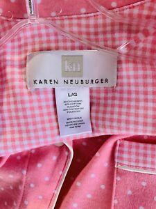 Karen Neuburger Pink Polka Dot Pajama Set Size Large Button Pocket Top Pants L