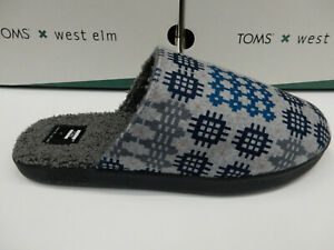 Toms X West End Mens Harbor Slippers Frost Grey Snowdon Repreve Two Tone Felt 12