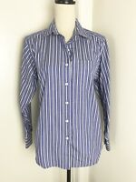 LL Bean Blue Stripe Button Down Shirt Sz S Womens Long Sleeve Cotton Blend