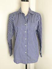 0b92a5d284 LL Bean Blue Stripe Button Down Shirt Sz S Womens Long Sleeve Cotton Blend