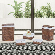 HOMCOM Wicker Rattan Basket Sets Bin Box Storage Organizer Set of 5 w/Lid Liner