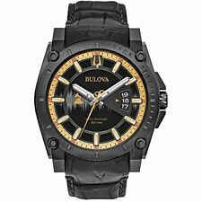 Bulova Mens Grammy Quartz Stainless Steel and Leather Casual Watch,Black 98B293