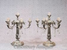 Pair Victorian Silver Plate Candelabras Table Lamps Lights Sheffield