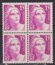 N° 727**  15Frs LILAS-ROSE TYPE MARIANNE DE GANDON EN BLOC DE 4