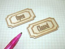 "Miniature ""Open"" and ""Closed"" Laser Cut Wood Shop Signs: DOLLHOUSE 1/12"