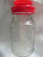 VINTAGE, ANCHOR HOCKING  WEXFORD PATTERN TANG JAR  WITH RED PLASTIC LID
