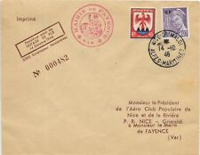 FRANCE LIMITED EDITION COVER 14/10/1946;NICE-GRIMALDI LOCAL USAGE SG 898 & 974.