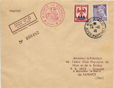 FRANCE Ltd. EDITION COVER 14/10/1946;NICE-GRIMALDI LOCAL USAGE SG 898 & 974.