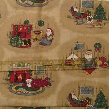 Christmas cotton fabric Santa at home Fireplace scene tan BTHY half yard
