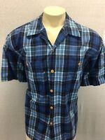 Reyn Spooner Blue Plaid Shirt Short Sleeve Button Front sz XL