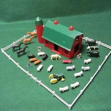 Vintage Plasticville Dairy Barn O Gauge W/Farm Animals+Fencing+People