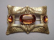 Antique Arts & Crafts Metal Brooch - Hammered Look w/ Faux Citrine & Bird Motif