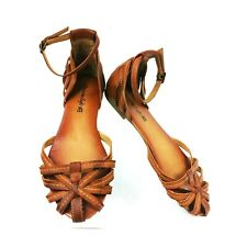 American Eagle AE Size 9  Brown Flats Strappy Ankle Straps Closed Toe  Womens