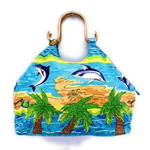 Dolphins Beach Bag Bamboo Handles Large Lightweight Blue Palm Trees