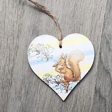 Peter Rabbit Squirrel Decoration wooden hanging heart plaque Handmade