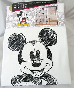 NWT Disney Mickey Mouse Shower Curtain Fabric 72 X 72 Grey & White Mickey L@@K!