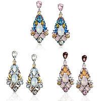 Fashion Vintage Women Rhinestone Flower Ear Stud Drop Dangle Earrings Jewelry