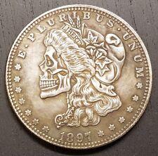 MORGAN Liberty Silver Dollar 1 $ un Crâne Fantasy Hobo coin 1897 squelette