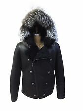 Genuine Shearling Aviator Double Breasted Mens Jacket with fox Fur Hood Size L