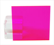 "Pink/Red Fluorescent Acrylic Plexiglass sheet 1/8"" x 12"" x 12"" #9095"