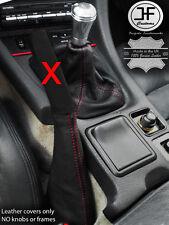Red Stitch Vera Pelle Ghetta Del Cambio Freno a Mano per Mitsubishi GTO 3000GT 90-01