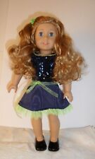"American Girl Doll Truly Me Long Curly Light Red Hair Blue eyes 18"" &  2 outfits"