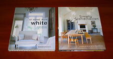 2x DECORATING BOOK Lot AT HOME WITH WHITE & SIMPLY SCANDINAVIAN House Furniture
