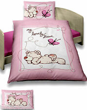Baby Bettwäsche 100x135 cm NICI Bär Schmetterling rosa