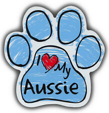 Scribble Paw Dog Magnets: I LOVE MY AUSSIE AUSTRALIAN SHEPHERD   For Cars, More