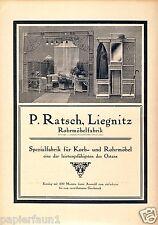 Möbel Ratsch Liegnitz Reklame 1923 Legnica furniture Ad Werbung Rattan Rohrmöbel