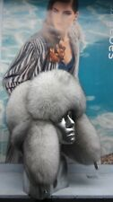 Real blue fox full fur winter trapper hat.Saga Furs S/M or L/XL.