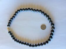 Awesome 10 MM Black Pearl Necklace Xtra Large Solid  14kt Gold Filigree Clasp