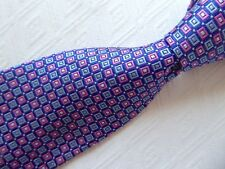 BROOKS BROTHERS BLUE PINK 100% SILK STAIN RESISTANT GEOMETRIC TIE