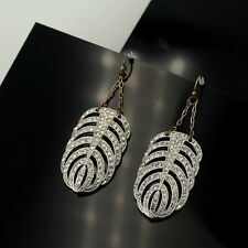Earring Gold Silver Crystal Feather Leaf Chain Pendant Vintage Wedding Class B4