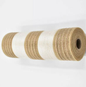 "DECO MESH Poly Wide TAN (natural) & IVORY Cabana Stripe 10"" x 10YD (30ft) Burlap"
