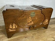 More details for vintage teak oriental chinese carved chest trunk  . delivery available