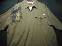 Rockpoint Large Green Hunting Cotton Spandex Short Sleeve Men's Shirt