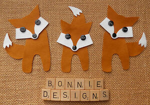 FELT FOX Die Cuts Christmas Autumn Appliqué Embellishments Button Eyes Softies